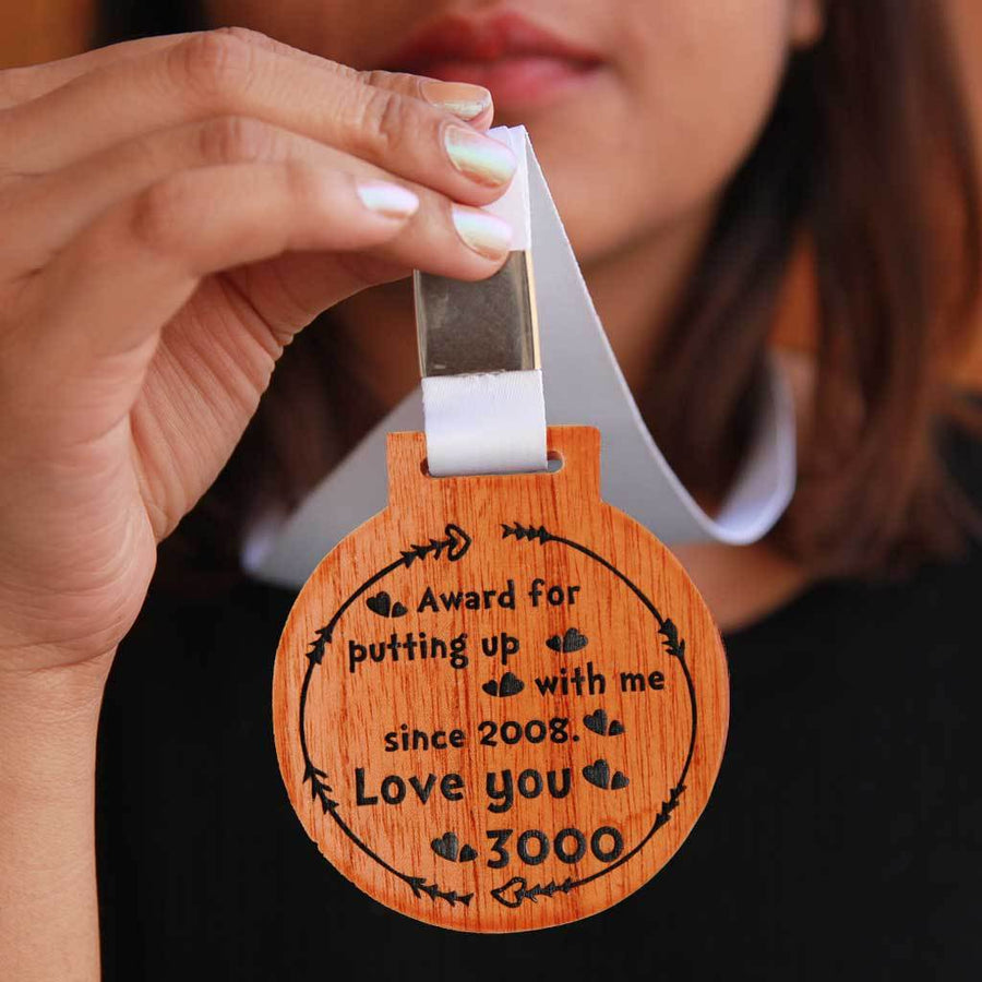 Award For Putting Up With Me. Love You 3000 Wooden Medal. Custom Medals Makes One Of The Most Romantic Gifts For Husband, Boyfriend, Wife, Girlfriend. This Trophy Medal Is The Best Avengers Gifts. Looking For Personalized Gifts? This Unique Wooden Medal Makes A Cute Gift For Him Or Her.