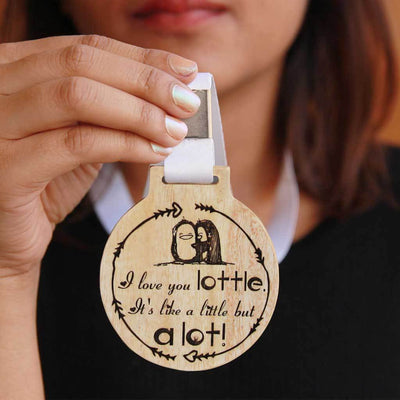 I Love You A Lottle Medal With Ribbon. They Make The Best Gifts Ideas For family. A Great Birthday Gift Idea For Friends. A special gift for her. A cool gift for her.