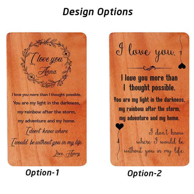 I Love You Cards - Romantic Card Design - Wooden Cards