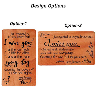 I Miss You Cards. Personalised I Will Miss You Greeting Cards Design Options.