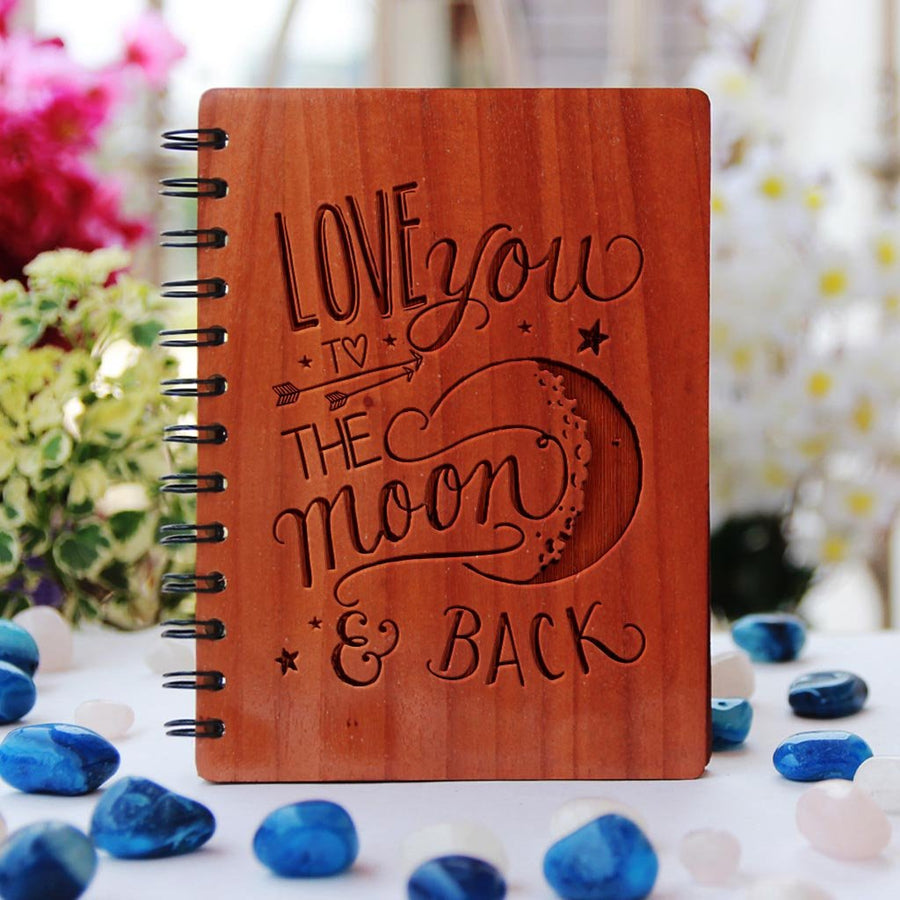 I Love You To The Moon & Back - Love Journal - Romantic Gifts - Wooden Notebook - Personalized Notebook - Woodgeek Store
