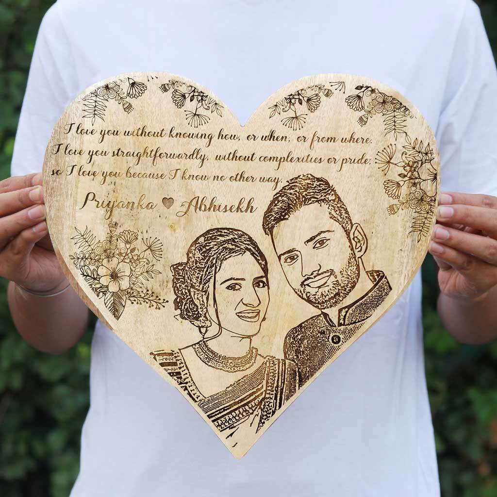 I love you without knowing how, or when, or from where. I love you straightforwardly, without complexities or pride; so I love you because I know no other way. - Wood Engraved Photo - Wooden Photo Frame - Engrave Photo On Wood At Woodgeek Store. This is the best anniversary gift for husband or wife. This photo gift is also a great gift for boyfriend or girlfriend.
