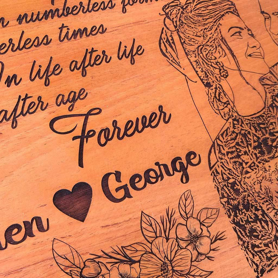 I seem to have loved you in numberless forms, numberless times…In life after life, in age after age, forever. Large Hanging Sign With Photo On Wood. Looking for photo gifts? This Wood Engraved Photo Is The Best Gift For Husband Or Wife.