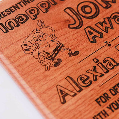 Inappropriate Joke Award Wooden Trophy - This custom award is a funny gift for friends.