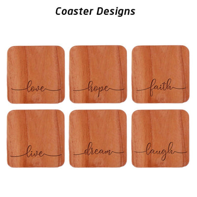 Love Hope Faith Live Dream Laugh Coasters. Inspirational Coasters Designs. Wooden Coasters.