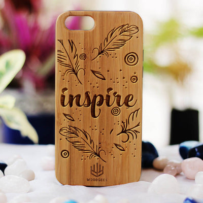 Inspire Wooden Phone Case from Woodgeek Store - Bamboo Phone Case - Engraved Phone Case - Wooden Phone Covers - Custom Wood Phone Case - Cool Phone Cases