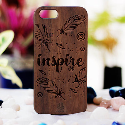 Inspire Wooden Phone Case from Woodgeek Store - Walnut Wood Phone Case - Engraved Phone Case - Wooden Phone Covers - Custom Wood Phone Case - Cool Phone Cases
