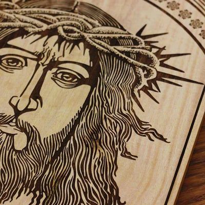 Wood Engraving - Jesus Christ in The Crown of Thorns Carved Wooden Poster by Woodgeek Store - Passion of Christ Wooden Artwork - Religious & Spiritual Wood Wall Hanging - Buy Wood Wall Art Decor Online