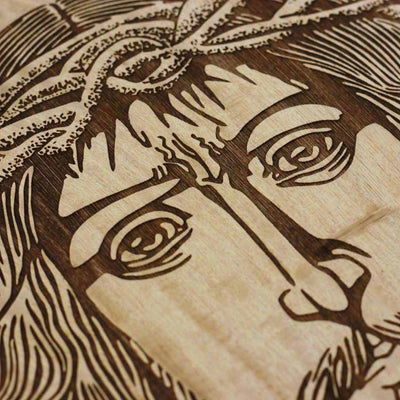 Wood Engraving -Jesus Christ in The Crown of Thorns Carved Wooden Poster by Woodgeek Store - Passion of Christ Wooden Artwork - Religious & Spiritual Wood Wall Hanging - Buy Wood Wall Art Decor Online
