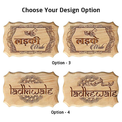 Ladkiwale & Ladkewale Indian Wedding Decorative Items - Wooden Wedding Signs by Woodgeek Store