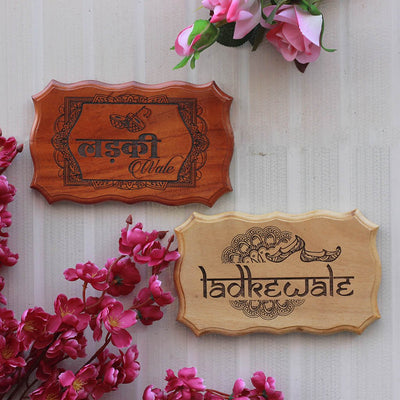 Ladkiwale / Ladkewale Carved Wooden Signs - Fun Wooden Wedding Signs for Indian Weddings - Decor for Bachelorette and Bachelor's party - Gifts for Bridesmaids & Groomsmen - Rustic Wooden Decor For Weddings by Woodgeek Store