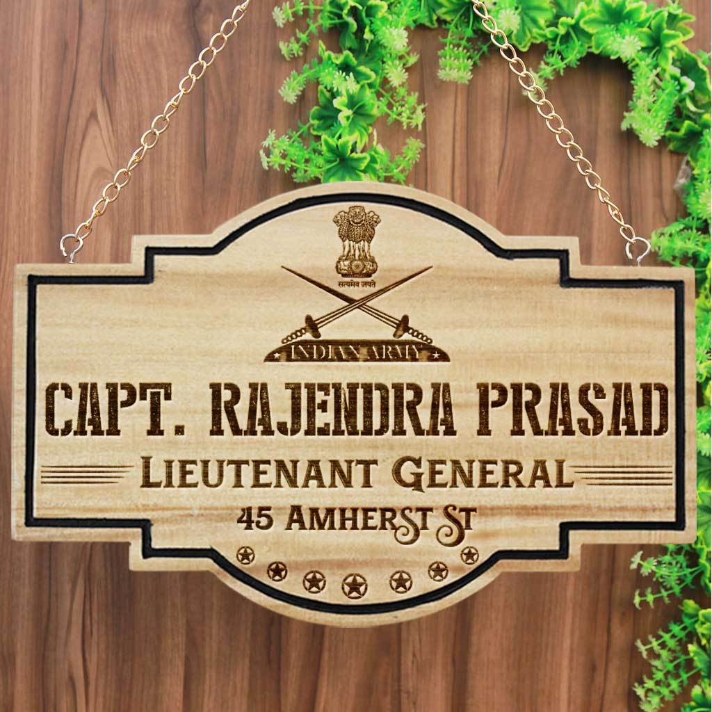 Custom Name Plates For Army Officers - Hanging Wooden Sign