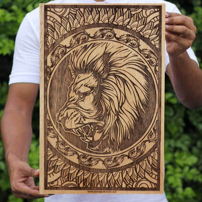 Leo The Lion Carved Wooden Poster by Woodgeek Store - Zodiac Sign Wooden Artwork - Zodiac Poster - Wood Poster - Buy Wood Wall Art Decor Online