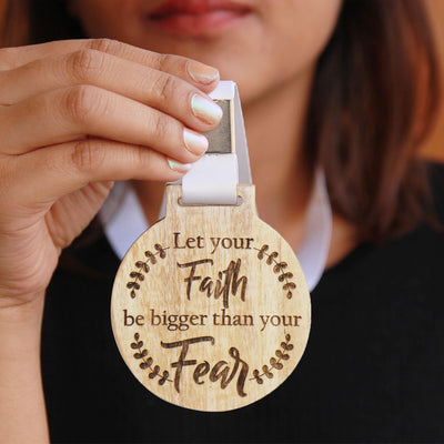 Let Your Faith Be Bigger Than Your Fear Wooden Medal. An Inspirational Gift For Friends and Family. Looking For More Inspirational Gifts? Order Medals Online From Woodgeek Store