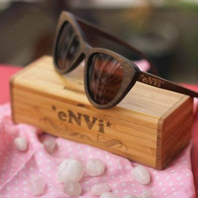 The Librarian - charcoal bamboo cateye wooden sunglasses