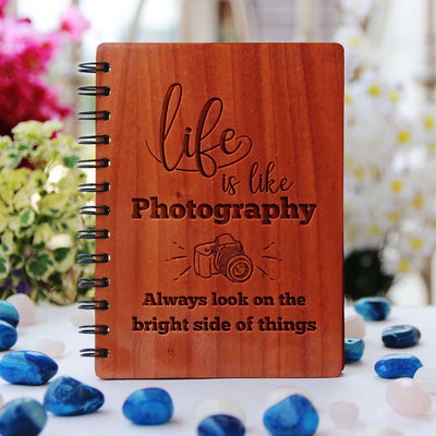 Notebook - Life Is Like Photography - Bamboo Wood Notebook