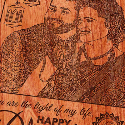 Photo On Wood Engraved With Diwali Wishes: You are the light of my life. Happy Diwali Gift. Wood engraved photo is a unique Diwali gift for girlfriend, Diwali gift for wife, Diwali gift for boyfriend or Diwali gift for husband. Looking for Diwali Gifts Online? This Wooden Plaque is The Best Photo Gift.