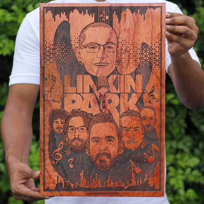 Linkin Park Carved Wooden Poster - Chester Bennington's Wall Poster - Wooden Wall Hanging for Rock Music Lovers by Woodgeek Store