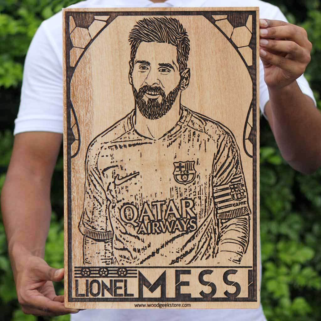 Lionel Messi Poster - Messi Wall Poster - Barcelona Soccer Wooden Poster - Gifts for Messi fans & football lovers by Woodgeek Store