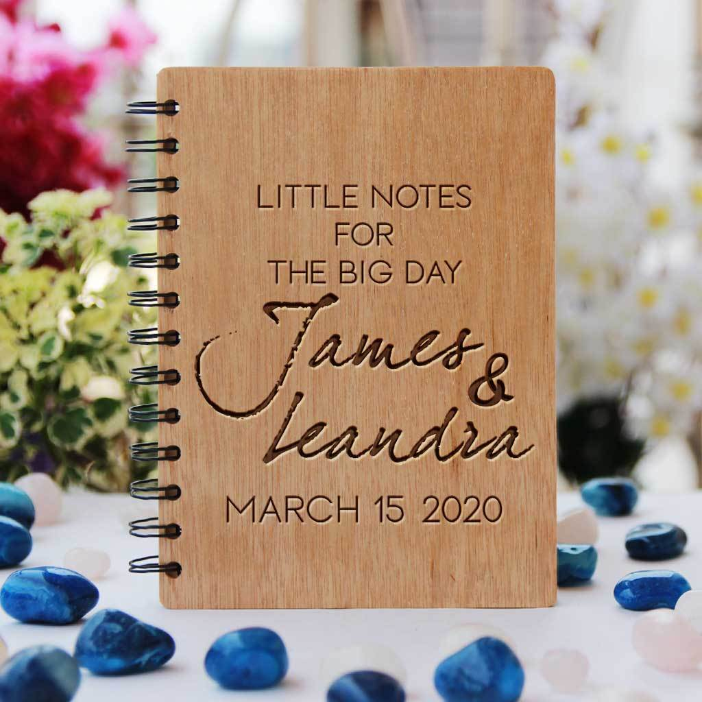 Little Notes For The Big Day Wedding Planner Book Engraved With Bride & Groom's Names and Wedding Date. A Personalized Wedding Journal & Notebook To Plan A Wedding. This Wooden Wedding Planner Notebook Is a Great Engagement Gift.