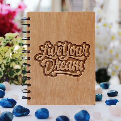 Inspirational Notebook - Live Your Dream Notebook - Bamboo Wood Notebook