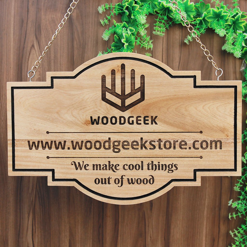 Create Your Own Wood Sign - Business Signs - Storefront Signs - Office Signage - Logo Engraved Sign - Custom Wood Sign - Office Name Plates - Custom Name Plates - Hanging Signs - Wood Carved Signs - Woodgeek Store