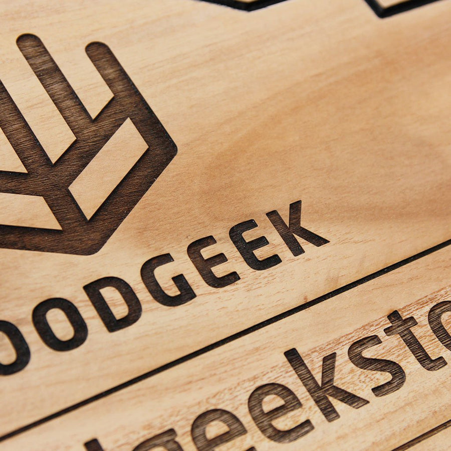 Business Signs - Shop Sign - Logo Engraved Sign - Custom Wood Sign - Woodgeek Store