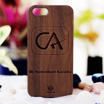 Logo Engraved Phone Cases - Gifts for Chartered Accountants - Logo Engraving on Wood - Wooden Phone Cases - Engraved Phone Covers - Walnut Wood Phone Cases from Woodgeek Store