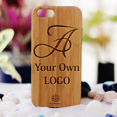 Logo Engraved Phone Cases - Logo Engraving on Wood - Wooden Phone Cases - Engraved Phone Covers - Bamboo Phone Cases from Woodgeek Store