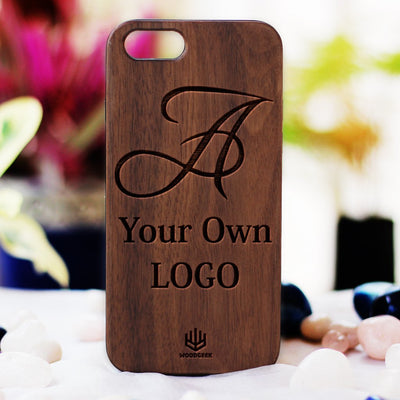 Logo Engraved Phone Cases - Logo Engraving on Wood - Wooden Phone Cases - Engraved Phone Covers - Walnut Wood Phone Cases from Woodgeek Store