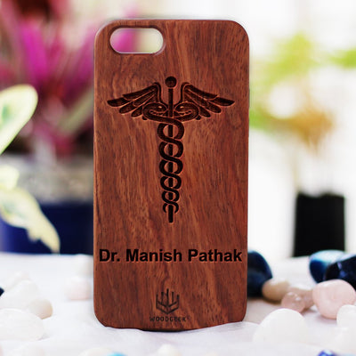 Logo Engraved Phone Cases - Gifts for Doctors - Logo Engraving on Wood - Wooden Phone Cases - Engraved Phone Covers - Rosewood Phone Cases from Woodgeek Store