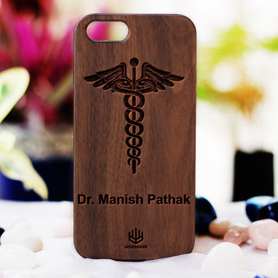 Logo Engraved Phone Cases - Gifts for Doctors - Logo Engraving on Wood - Wooden Phone Cases - Engraved Phone Covers - Walnut Wood Phone Cases from Woodgeek Store