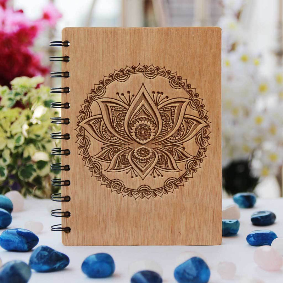 Lotus Personalized Wooden Notebook. These Custom Spiral Notebooks Makes Unique Gifts For Friends And Family - Buy More Writer's Journals From Woodgeek Store