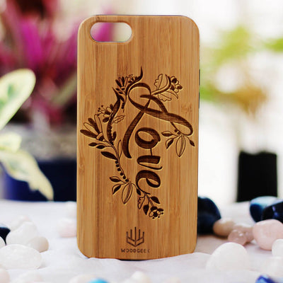 Love Wooden Phone Case from Woodgeek Store - Bamboo Phone Case - Engraved Phone Case - Wooden Phone Covers - Custom Wood Phone Case - Cool & Romantic Phone Cases