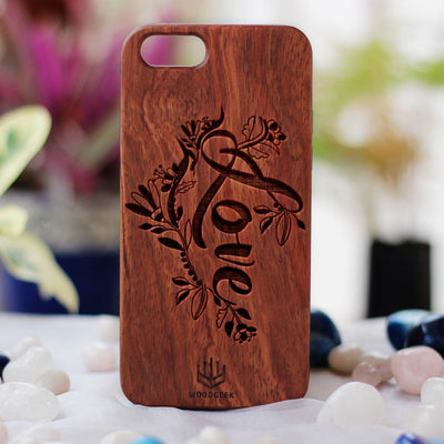 Love Wooden Phone Case from Woodgeek Store - Rosewood Phone Case - Engraved Phone Case - Wooden Phone Covers - Custom Wood Phone Case - Cool & Romantic Phone Cases
