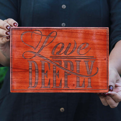 Carved Wood Wall Art Decor | Love Deeply Wood Sign | Wood Wall Posters | Romantic Gifts | Woodgeek Store