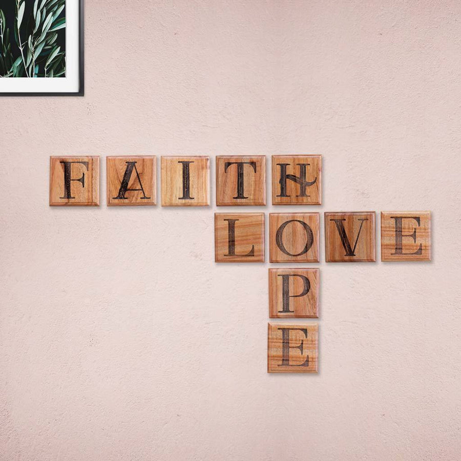 Love Hope Faith Wooden Crossword Art & Scrabble Wall Art - Wooden Letter Tiles for Home Decor by Woodgeek Store