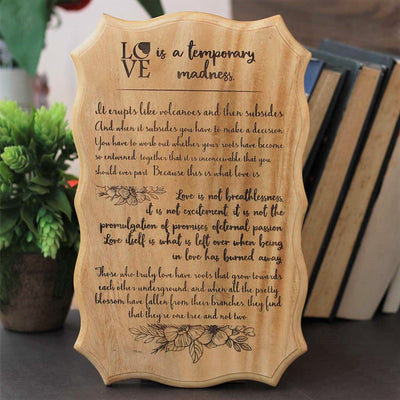 Love is a temporary madness Wooden Signs with Quotes - Love Signs Made from Wood - Home decor wooden signs With Love Saying - -Wooden Hanging Signs by Woodgeek Store