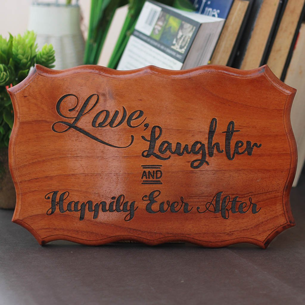 Love, Laughter & Happily Ever After Wood Carved Sign - Wooden Wedding Signs - Wedding and anniversary gifts - Gifts for Boyfriends, Girlfriends, Husband & Wife by Woodgeek Store