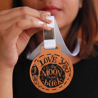 I Love You To The Moon And Back Medal Of Love. This Medal Is A Very Romantic Gift For Him And Her. These Medals And Trophies Also Make Great Gift For Family.