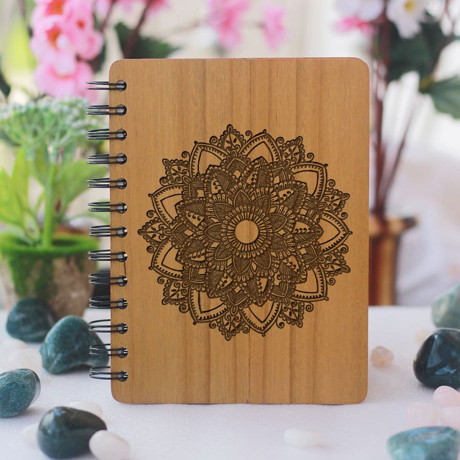 Mandala Wooden Journal Diary. This Personalized Notebook Can Be Used As A Gratitude Journal. Buy More Laser Engraved Wooden Products And Stationery Gift Items Online From The Woodgeek Store.