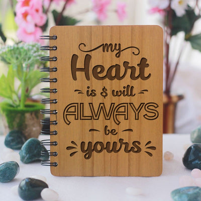 My heart is and will always be yours - Love Journal - Gifts for Boyfriend - Gifts for Husband - Wooden Notebook - Personalized Notebook - WoodgeekStore