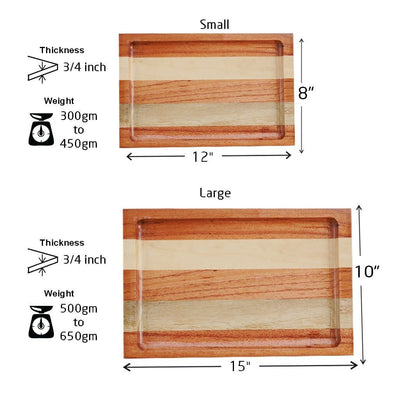 Measurement for Mahogany And Birch Wooden Tray - Woodgeek Store