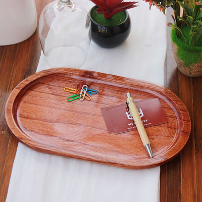 Oval Shaped Mahogany Wood Tray - A Decorative Wooden Tray to keep knick knacks like office essentials, keys and trinkets. This wooden tray can also be used as a serving tray for food and drinks