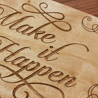 Wood Engraving - Wood Artwork for Walls | Make It Happen Wood Sign | Wood Wall Posters | Wood wall art | Woodgeek store