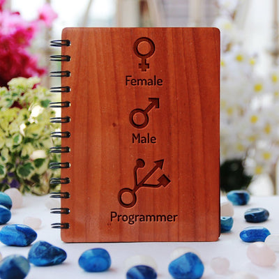 Male Female Programmer Journal - Best Gifts for Geeks & Computer Nerds - Programming Journal for Coders - Woodgeek Store