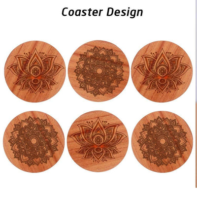 Mandala Coasters - Wooden Coasters Engraved With Mandala Designs. These Art Coasters Make Beautiful Table Coasters. These Wooden Coasters Come With A Wooden Coaster Holder. This Coaster Set Will Make Great Home Decor Gifts Or Housewarming Gifts.