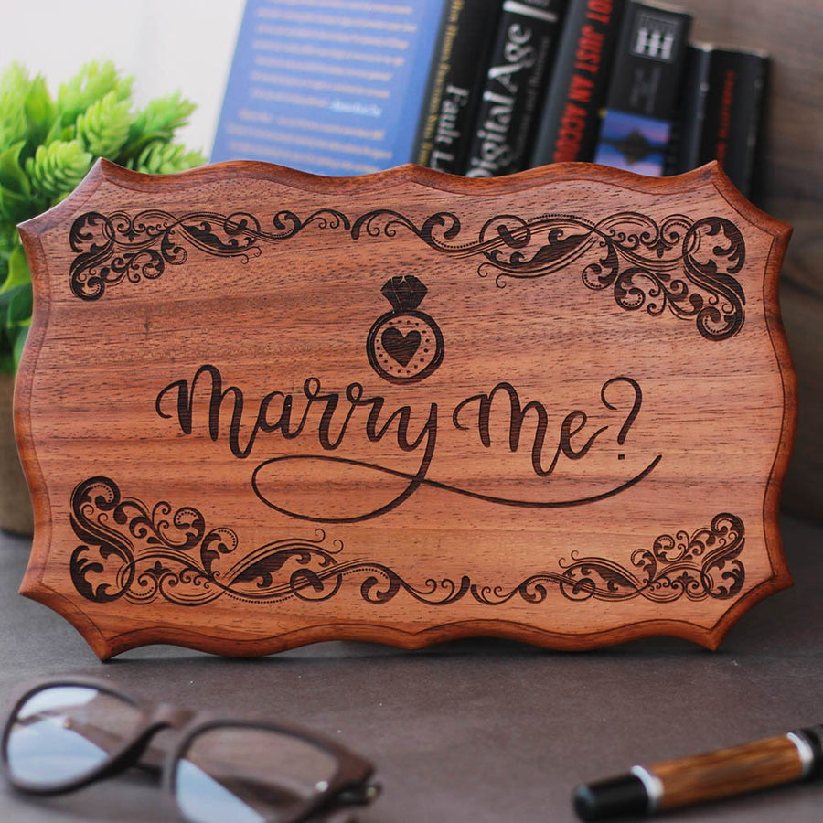 Marry Me Wedding Sign - Will You Marry Me Signs - Wood Carved Signs - Wedding Proposal Ideas with Wooden Signs by Woodgeek Store