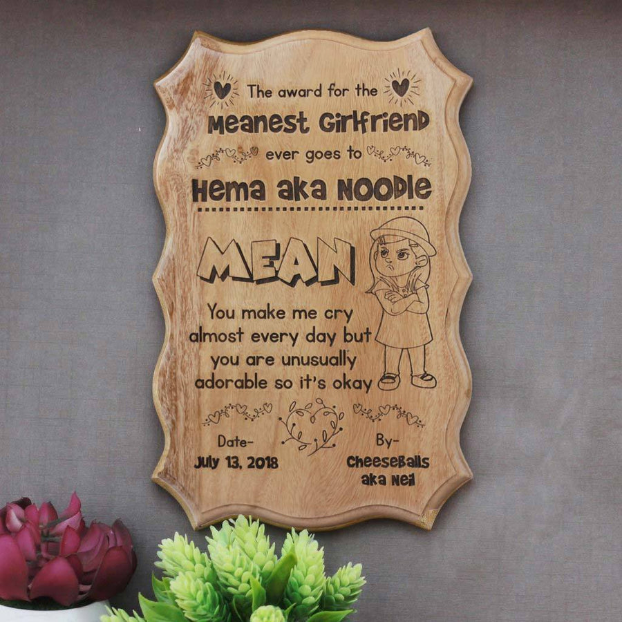 The Meanest Girlfriend Award Certificate. This Funny Certificate Is The Best Gift For Girlfriend. A Funny Gift For Your Funny Girlfriend. Buy unique gift for girlfriend from The Woodgeek Store