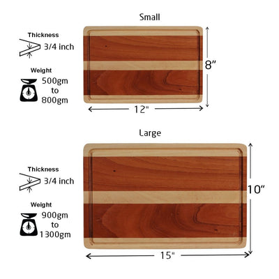 Measurements for Juice Groove To Avoid Spillage - Mahogany and Birch Striped Wooden Chopping Board - Woodgeek Store